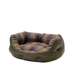 Barbour Dog Bed. Quilted - Olive