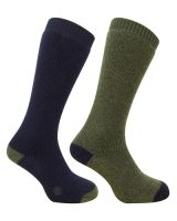 Hoggs Mens Socks. Country Long - 2 pack - Dk Navy with Dk Green