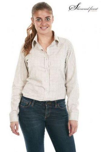 Sherwood Forest Ladies Shirt. Bayfield - Light  Olive Check  Size 12