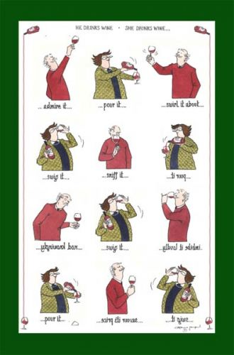 Tea Towel - Drinking wine