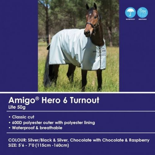 Amigo Turnout Hero-6 (600D) with Leg Arches - 50g