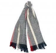 Barbour Ladies Scarf. Boucle Stripe - Navy / Ecru
