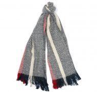 Barbour Ladies Scarf. Boucle Stripe - Navy / Ecru