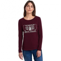 Barbour Ladies T Shirt. Aydon - Bordeaux