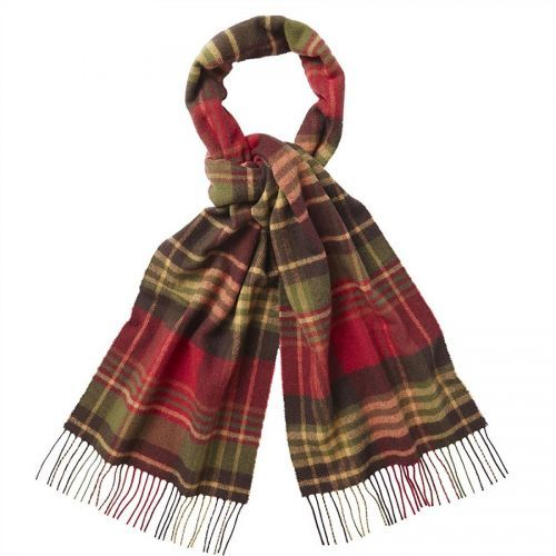 Barbour Scarf. Country Check. Olive/Red