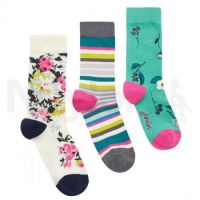 Joules Ladies Socks. Brilliant Bamboo - Floral 3 Pack