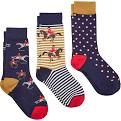 Joules Ladies Socks. Brilliant Bamboo - Horse 3 Pack