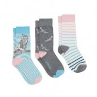 Joules Ladies Socks. Brilliant Bamboo - Swan 3 Pack