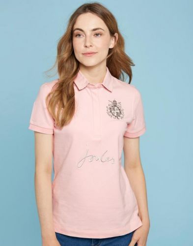 Joules Ladies Polo. Amity - Soft Pink