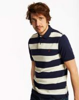Joules Mens Polo. Filbert - French Navy Stripe Size L